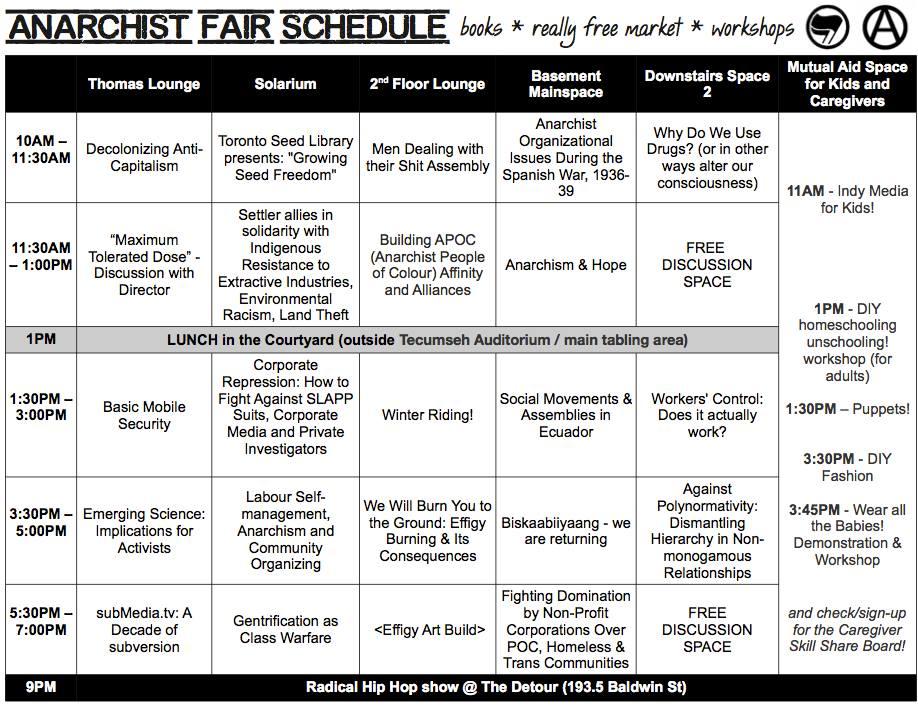 TAF 2013 schedule